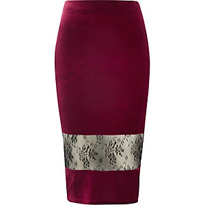 Burgundy velvet lace panel pencil skirt