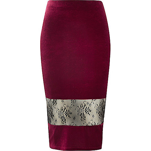 Dark red velvet lace panel pencil skirt