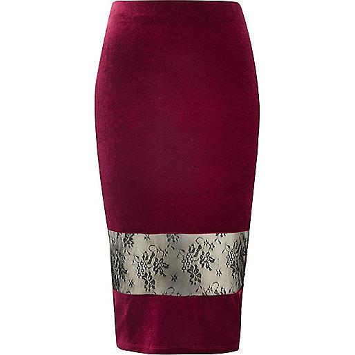 Dark red velvet lace panel pencil skirt