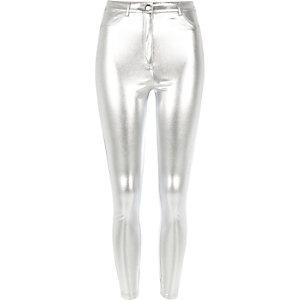 Silver tube pants