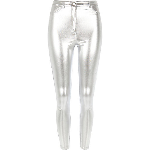 Silberne Slim Fit Hose
