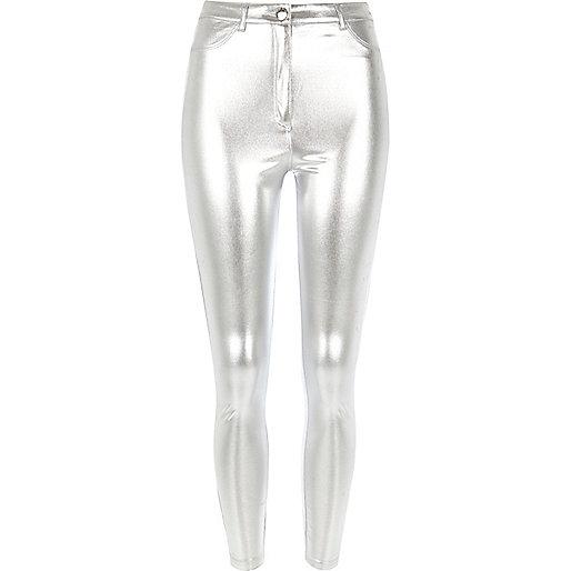 Pantalon skinny argenté
