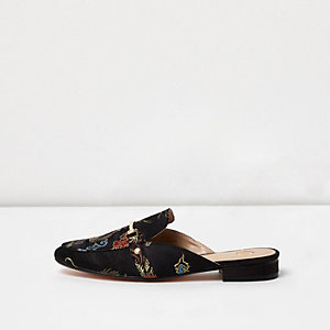 Black printed satin backless loafers