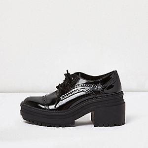 Black patent chunky heel brogues