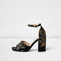 Black embroidered oriental block heel sandals