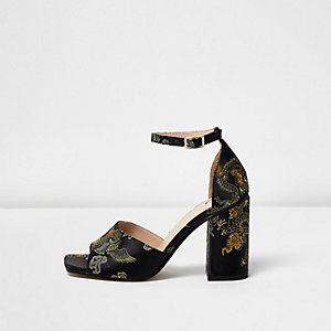 Black embroidered oriental block heel sandals