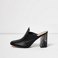 Black closed toe marble heel mules