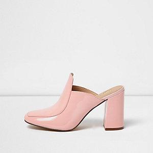 Pink closed toe block heel mules