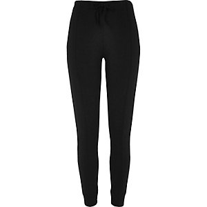Black bound ponte leggings