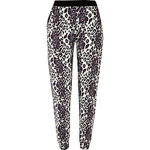 Grey leopard print joggers