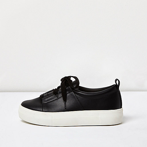 Black lace-up platform sneakers