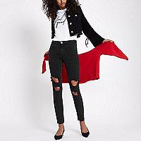 Alannah – Schwarze, lässige Skinny Jeans im Used-Look