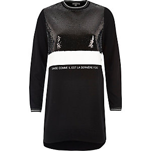 Black sequin block oversized sweatshirt