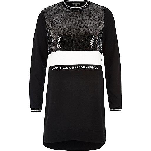Black sequin block oversized sweatshirt