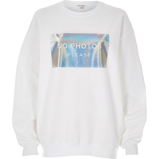 White metallic print sweatshirt
