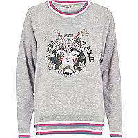 Grey embellished print sweatshirt