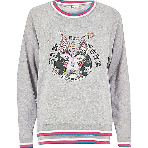 Grey embellished print sweatshirt