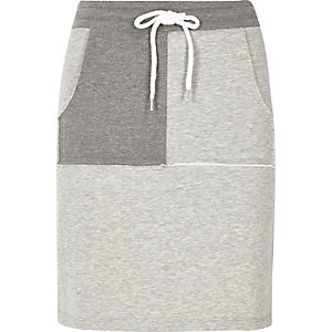 Grey two tone sweat mini skirt