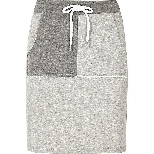 Grey two tone sweat mini skirt