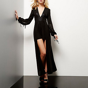 Black metallic layered string tie romper