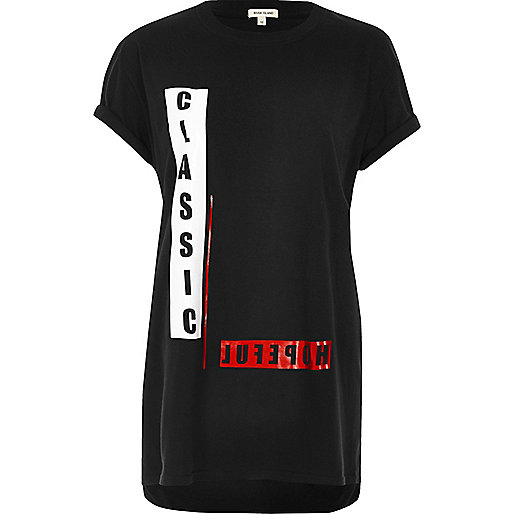 Black print boyfriend T-shirt