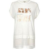 T-shirt boyfriend blanc imprimé métallisé