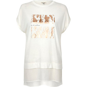 White foil print boyfriend fit t-shirt