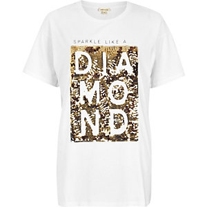 White diamond print boyfriend T-shirt