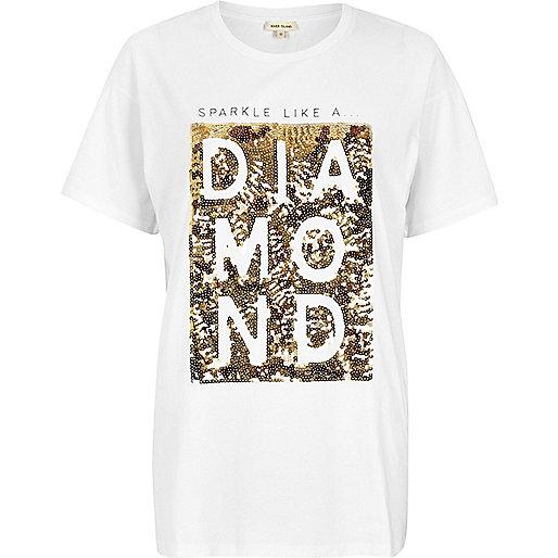 White sequin print boyfriend T-shirt