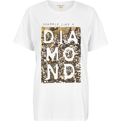 White sequin print boyfriend T-shirt
