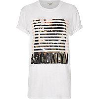 White 'Brooklyn' print boyfriend T-shirt