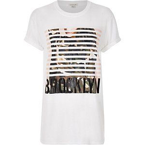White 'Brooklyn' print boyfriend T-shirt