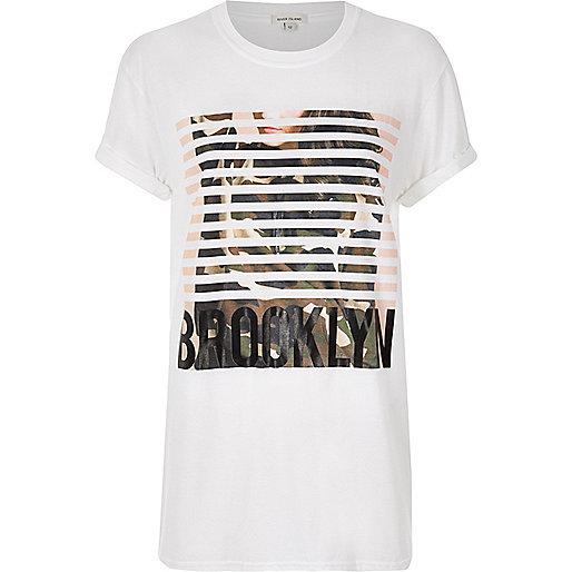 T-shirt boyfriend imprimé 'Brooklyn' blanc