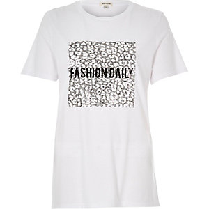 "White ""Fashion Daily"" sequin print t-shirt"