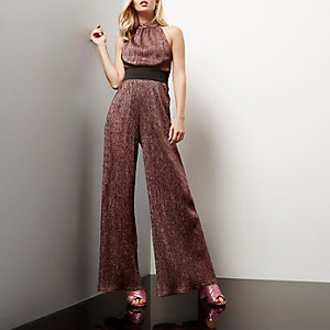 Pink sparkly pleated wide leg jumpsuit