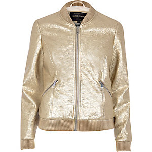 Gold textured bomber jacket