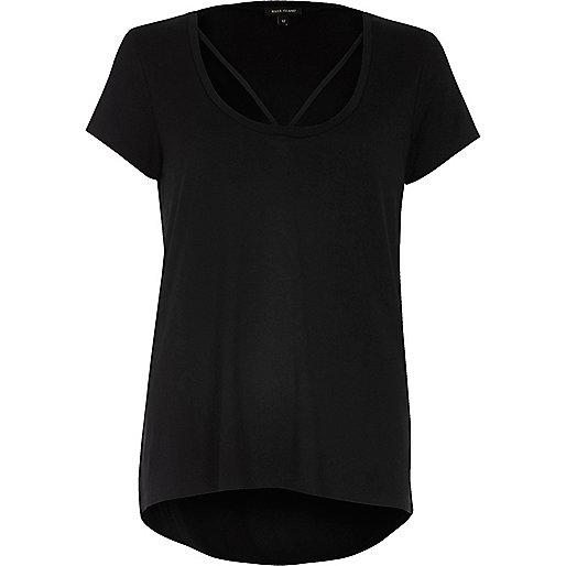 Schwarzes T-Shirt mit Riemchen