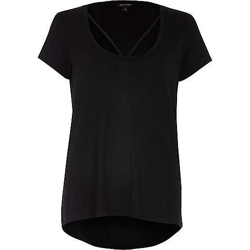 Black strappy neck t-shirt