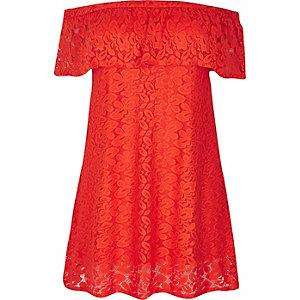 RI Plus red daisy lace bardot dress