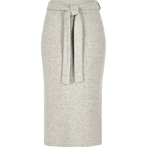 Light grey marl belted midi skirt