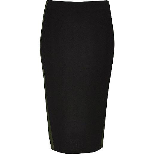 Black jersey stripe pencil skirt