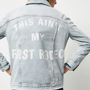 Light wash slogan back denim jacket