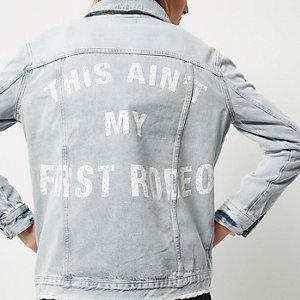 Light wash slogan back denim jacket