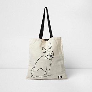 Beige French bulldog shopper bag