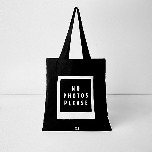 Black 'No Photos Please' cotton shopper bag