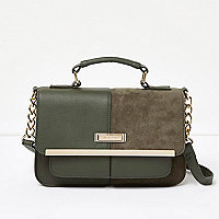 Khaki split panel chain satchel bag