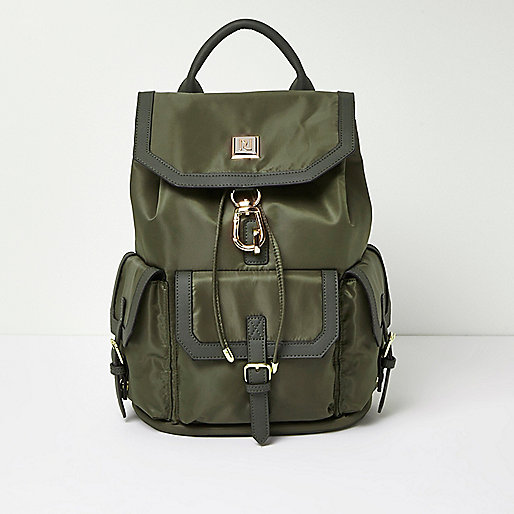Khaki flap pocket backpack