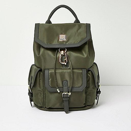 Khaki flap pocket backpack