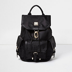 Black flap pocket backpack