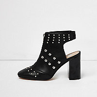 Black leather look studded shoe boots